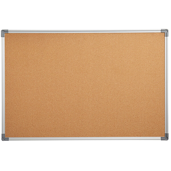 """Dynamic by 360 Office Furniture 36"""" x 24"""" Wall-Mount Cork Board with Aluminum Frame Main Image 1"""