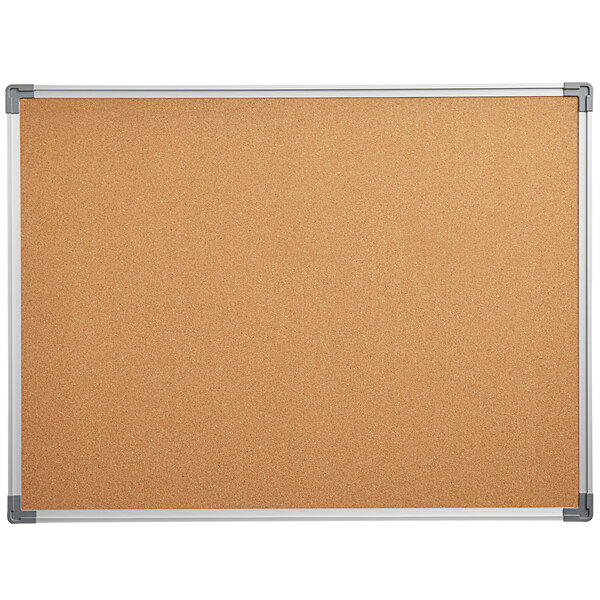"""Dynamic by 360 Office Furniture 48"""" x 36"""" Wall-Mount Cork Board with Aluminum Frame Main Image 1"""