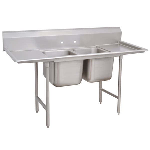 """Advance Tabco 93-42-48-36RL Regaline Two Compartment Stainless Steel Sink with Two Drainboards - 125"""" Main Image 1"""