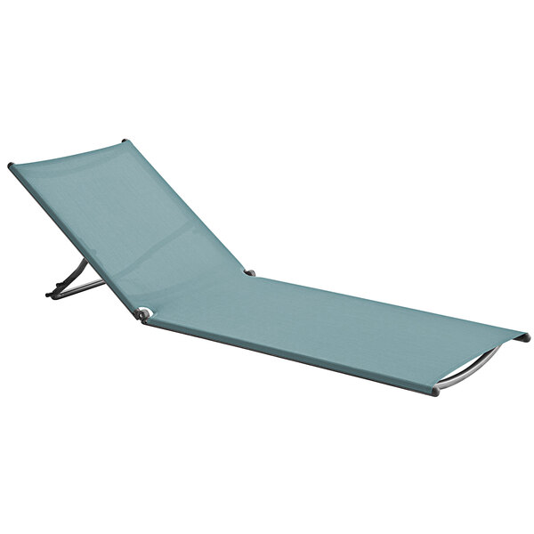 Grosfillex UT002550 Jamaica Beach Spa Blue / Silver Gray Chaise Lounge Replacement Sling Main Image 1