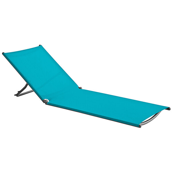 Grosfillex US683241 Jamaica Beach Turquoise / Silver Gray Chaise Lounge Replacement Sling Main Image 1