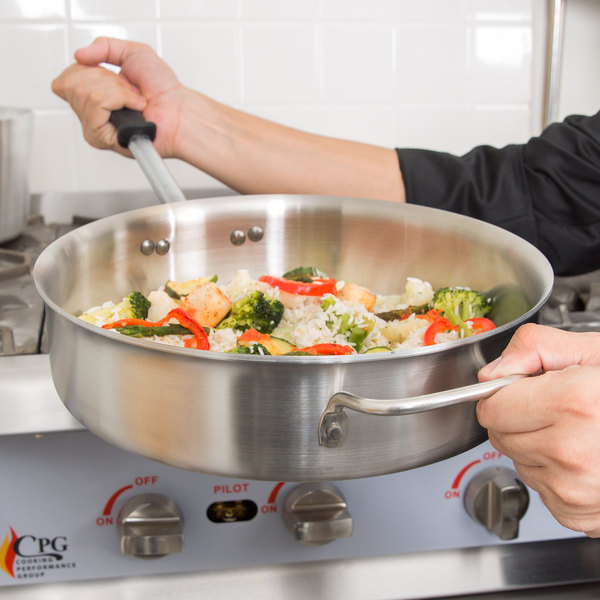 Vollrath 77746 Tribute 6 Qt. Saute Pan with Helper Handle and Silicone-Coated Handle