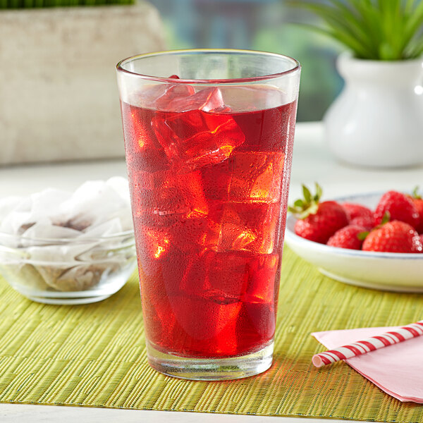 Bossen Raspberry and Strawberry Fruit Ground Tea Bags - 50/Pack Main Image 2