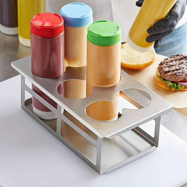 Tablecraft SQH6 Stainless Steel Six Hole Squeeze Bottle Holder Main Image 2
