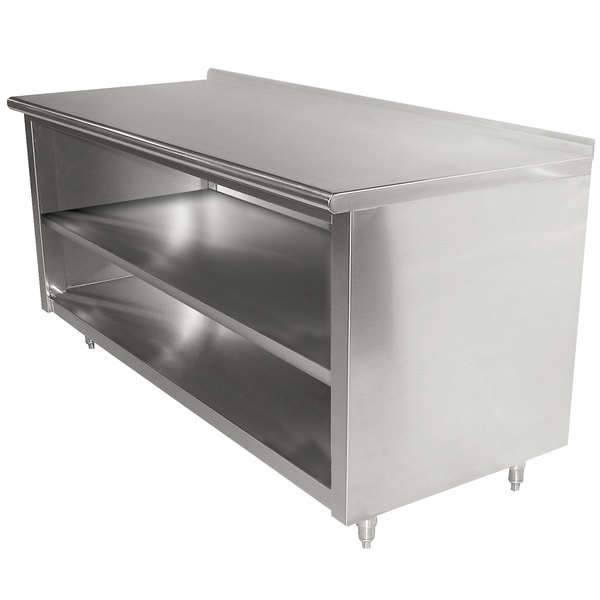 """Advance Tabco EF-SS-304M 30"""" x 48"""" 14 Gauge Open Front Cabinet Base Work Table with Fixed Mid Shelf and 1 1/2"""" Backsplash"""