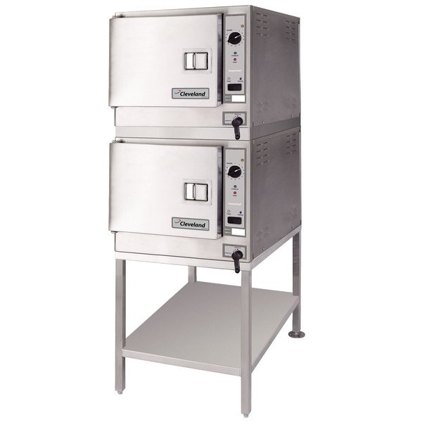 Cleveland (2) 22CET3.1 SteamChef 3 Double Deck 6 Pan Electric Floor Steamer - 208V, 1 Phase, 24 kW