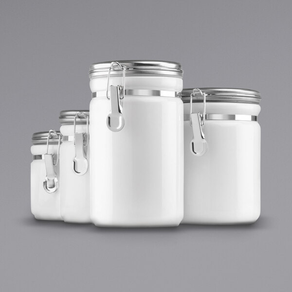Anchor Hocking 03922mr White 8 Piece Ceramic Canister Set With Stainless Steel Lids 2 Set
