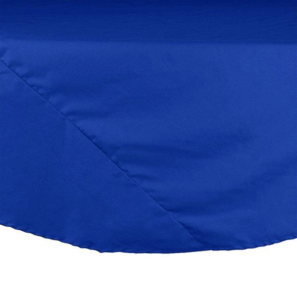 "72"" Royal Blue Round Hemmed Polyspun Cloth Table Cover"