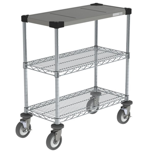 """Metro CR1430DTOSC Drive-Thru Order Staging Prep Cart with Wire Shelving - 32"""" x 16 1/2"""" x 33 3/4"""" Main Image 1"""