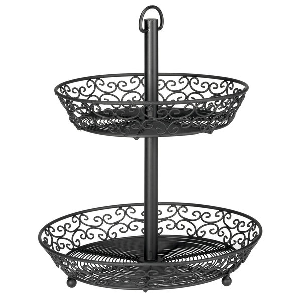 Tablecraft BKT2A Mediterranean Two Tier Black Display Basket - 12""