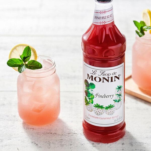 Monin 1 Liter Premium Pineberry Flavoring Syrup Main Image 2