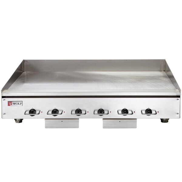 """Wolf WEG72E-24C 72"""" Electric Countertop Griddle with Snap-Action Thermostatic Controls and Chrome Plate - 208V, 1 Phase, 32.4 kW Main Image 1"""