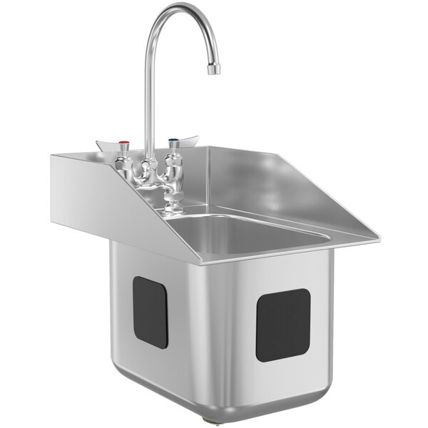 """Waterloo 10"""" x 14"""" x 10"""" 18 Gauge Stainless Steel One Compartment Drop-In Sink with 8"""" Gooseneck Faucet and Side Splashes Main Image 1"""