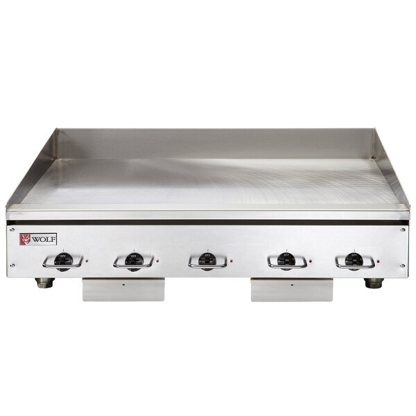 "Wolf WEG60E-24C 60"" Electric Countertop Griddle with Snap-Action Thermostatic Controls and Chrome Plate - 240V, 1 Phase, 27 kW Main Image 1"