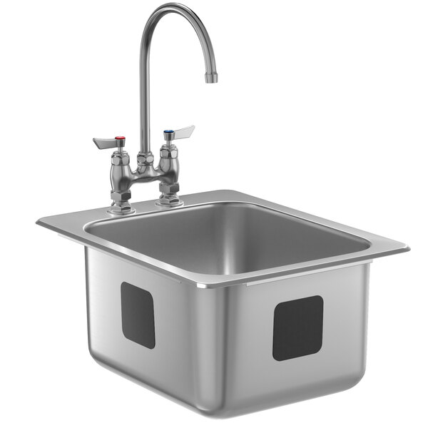 """Waterloo 14"""" x 16"""" x 10"""" 18 Gauge Stainless Steel One Compartment Drop-In Sink with 8"""" Gooseneck Faucet Main Image 1"""