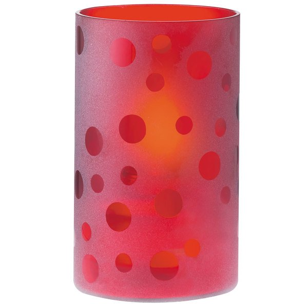 Sterno Products 80128 One-Piece Red Frost Table Liquid Candle Holder with Clear Glass Dots