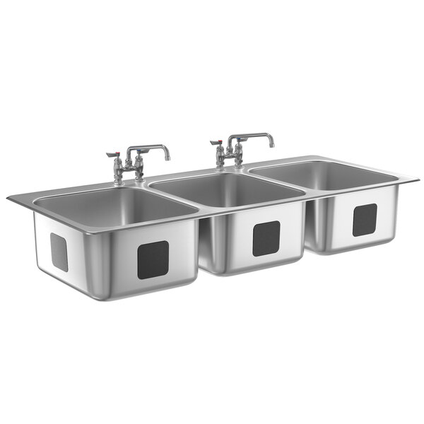 """Waterloo 16"""" x 20"""" x 12"""" 18 Gauge Stainless Steel Three Compartment Drop-In Sink with 12"""" Swing Faucet Main Image 1"""