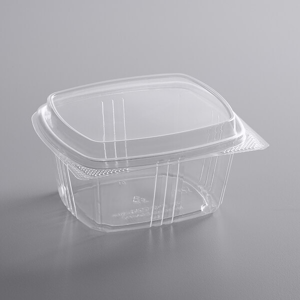 Choice 16 oz. Clear RPET Tall Hinged Deli Container  - 200/Case