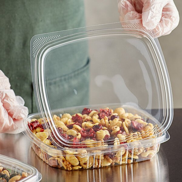 Choice 16 oz. Clear RPET Shallow Hinged Deli Container - 200/Case Main Image 2