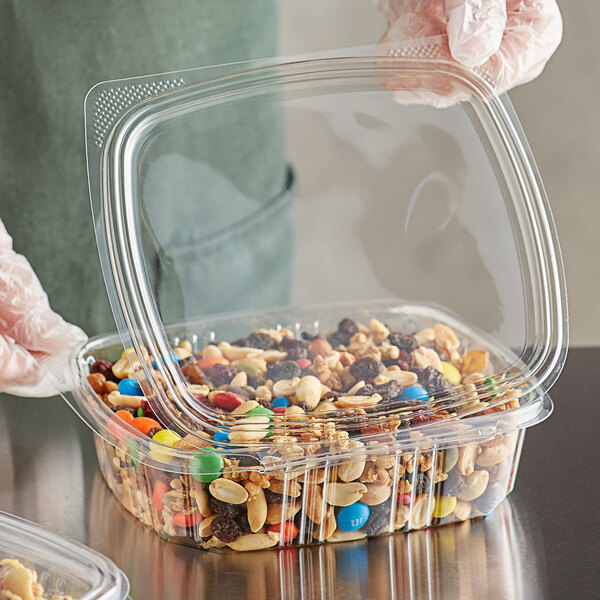 Choice 24 oz. Clear RPET Hinged Deli Container - 200/Case Main Image 2