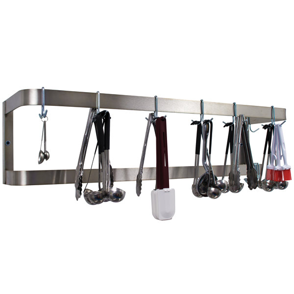"Advance Tabco SW-36 36"" Stainless Steel Wall Mounted Double Line Pot Rack with 12 Double Prong Hooks"