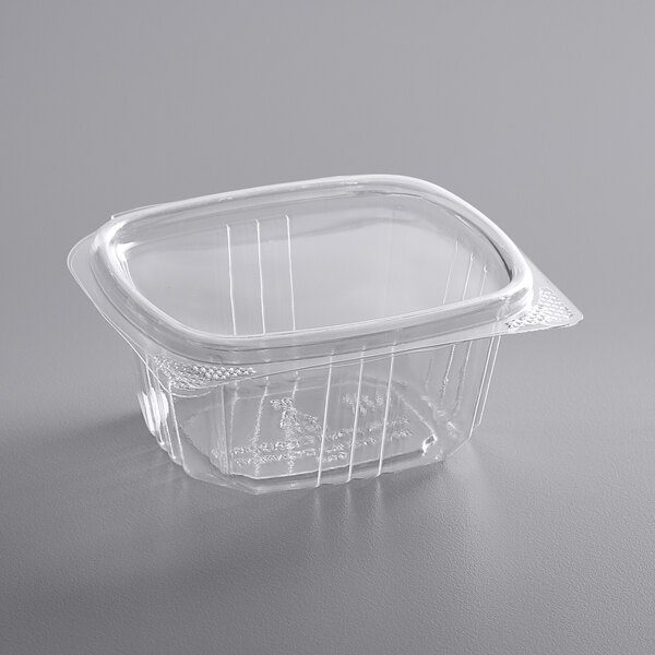 Choice 6 oz. Clear RPET Hinged Deli Container  - 400/Case
