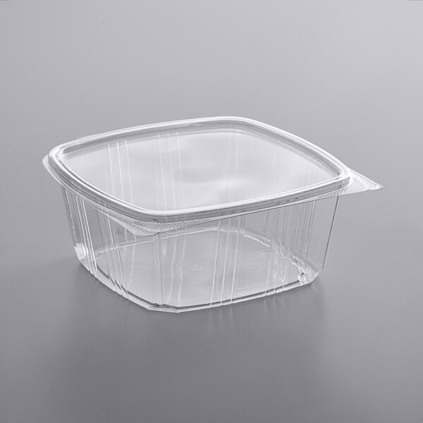Choice 64 oz. Clear RPET Hinged Deli Container  - 200/Case