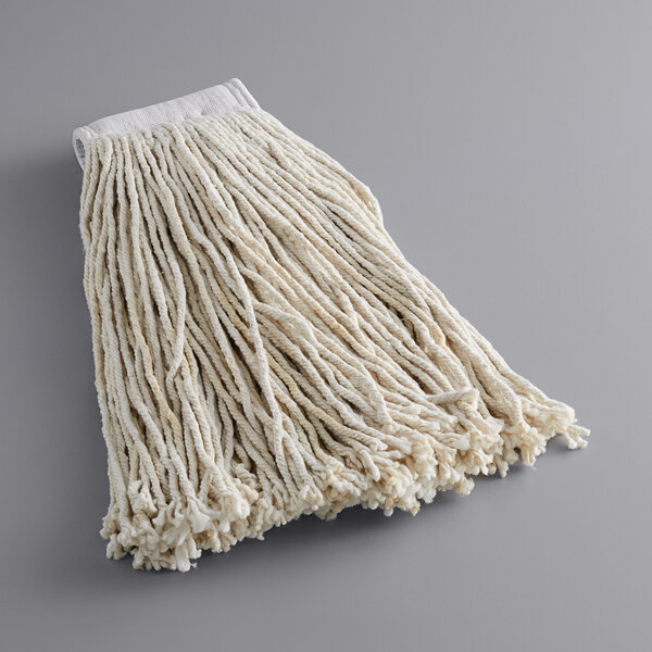 """Lavex Janitorial 24 oz. #32 Cotton Cut End Mop Head with 5"""" Band Main Image 1"""