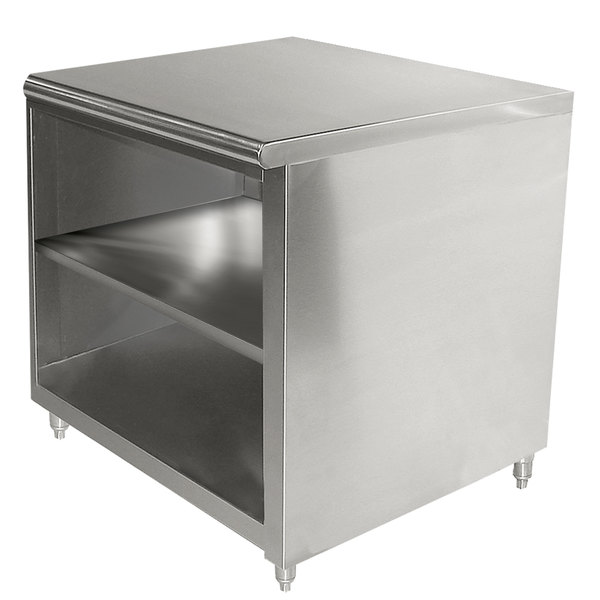 """Advance Tabco EB-SS-243M 24"""" x 36"""" 14 Gauge Open Front Cabinet Base Work Table with Fixed Mid Shelf"""