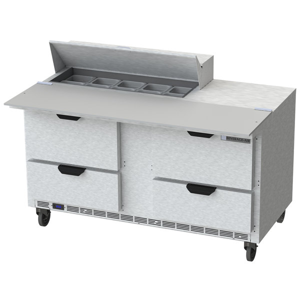"""Beverage Air SPED60HC-10C-4 60"""" 4 Drawer Cutting Top Refrigerated Sandwich Prep Table with 17"""" Wide Cutting Board"""