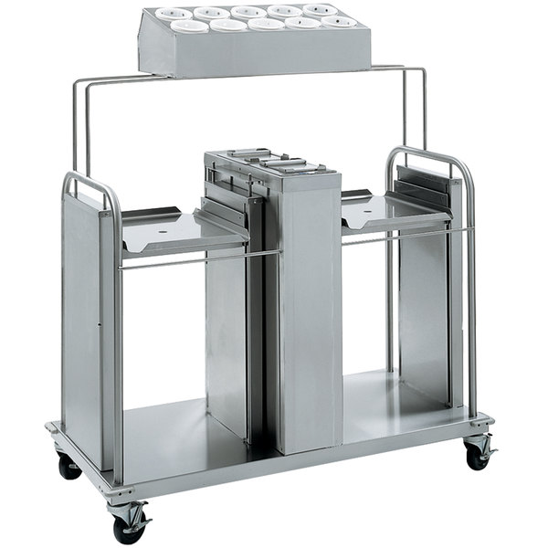 """Delfield FT2-SN-1216SS Stainless Steel Two Stack Tray and Napkin Dispenser with Silverware Bin - for 12"""" x 16"""" Food Trays"""