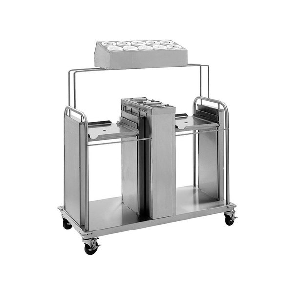 "Delfield FT2-SN-1216SS Stainless Steel Two Stack Tray and Napkin Dispenser with Silverware Bin - for 12"" x 16"" Food Trays"