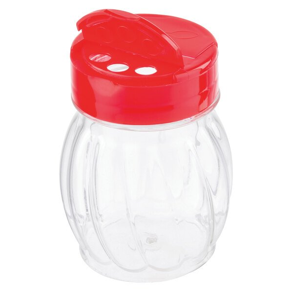 Tablecraft 10330 6 oz. Clear Plastic Shaker with Red Flip Top - 12/Case Main Image 1
