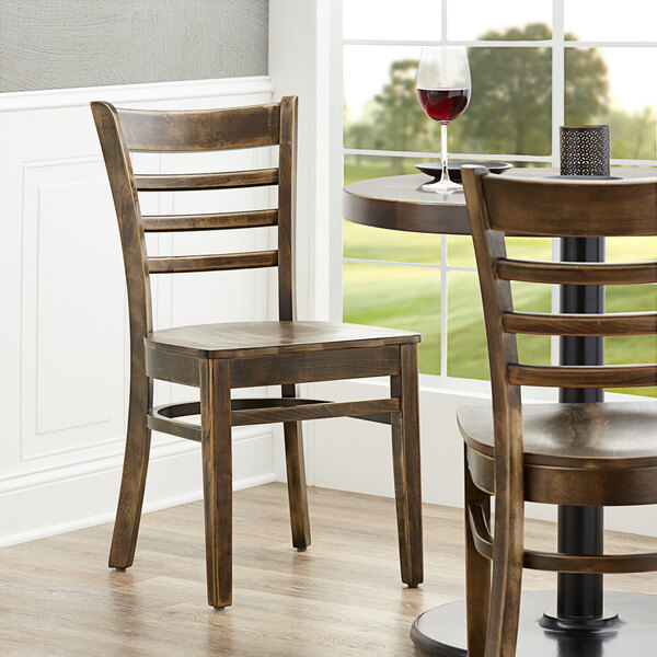 Lancaster Table & Seating Vintage Finish Wooden Ladder Back Chair with Vintage Wood Seat Main Image 4