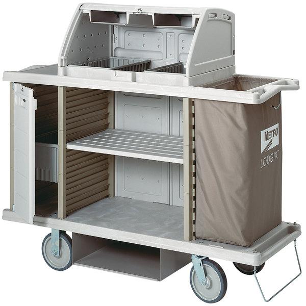 Metro LXHK3-PRO Lodgix Pro Housekeeping Cart with Locking Side Storage and Top Shroud Main Image 1