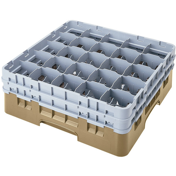 """Cambro 25S318184 Camrack 3 5/8"""" High Customizable Beige 25 Compartment Glass Rack Main Image 1"""
