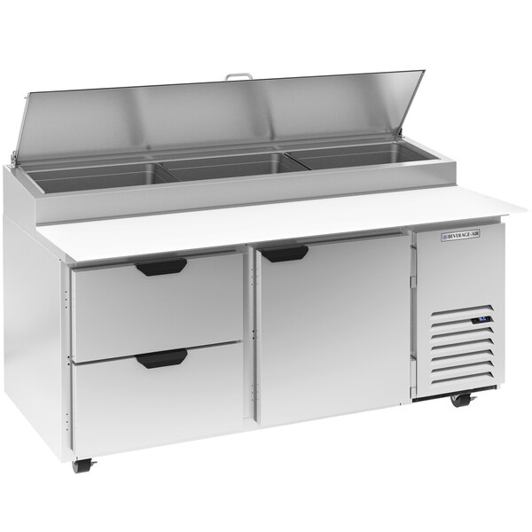 """Beverage-Air DPD67HC-2-CL 67"""" 2 Drawer 1 Door Clear Lid Refrigerated Pizza Prep Table Main Image 1"""