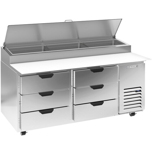 """Beverage-Air DPD67HC-6-CL 67"""" 6 Drawer Clear Lid Refrigerated Pizza Prep Table Main Image 1"""
