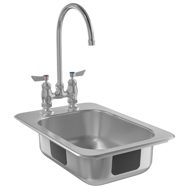 """Waterloo 10"""" x 14"""" x 5"""" 20 Gauge Stainless Steel One Compartment Drop-In Sink with 8"""" Gooseneck Faucet Main Image 1"""