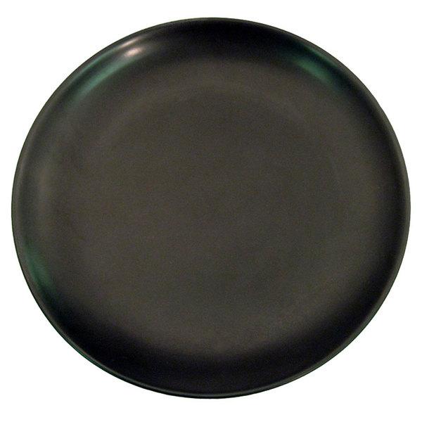 """CAC 666-21-BK Japanese Style 12"""" China Coupe Plate - Black Non-Glare Glaze - 12/Case"""