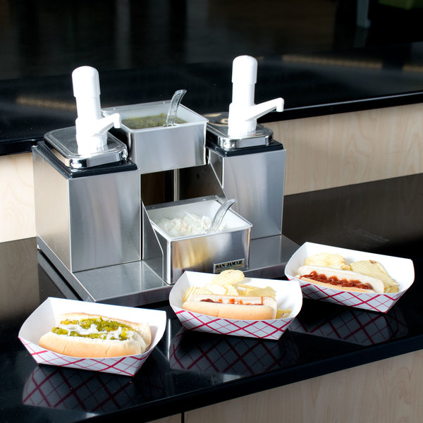 San Jamar P9725 Dual Pump Condiment System with 2-Compartment Stainless Steel Condiment Holder Main Image 8