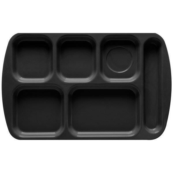 """GET TR-151 Black Melamine 10"""" x 15 1/2"""" Right Hand 6 Compartment Tray - 12/Pack"""