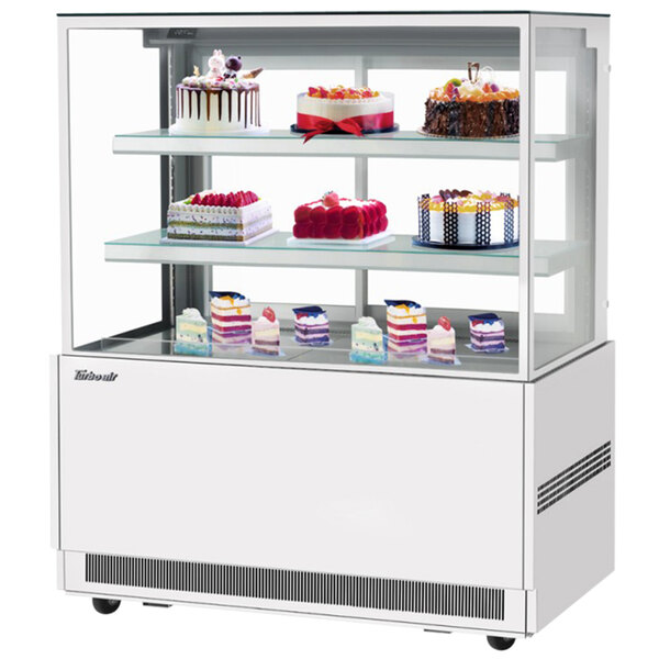 """Turbo Air TBP48-54NN-W 47"""" Square Glass Three Tier White Refrigerated Bakery Display Case Main Image 1"""