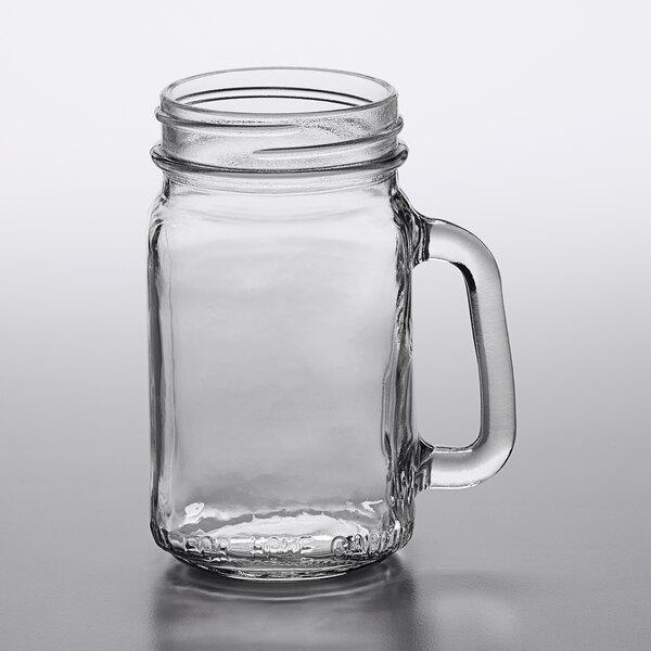 Acopa Rustic Charm 16 oz. Customizable Drinking Jar / Mason Jar with Handle - 12/Case
