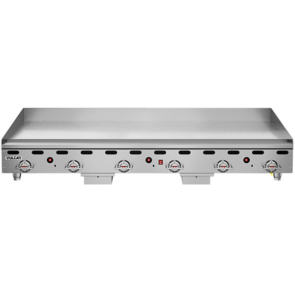"""Vulcan 972RX-30C 72"""" Liquid Propane Chrome Top Commercial Griddle with Snap-Action Thermostatic Controls and Extra Deep Plate - 162,000 BTU Main Image 1"""