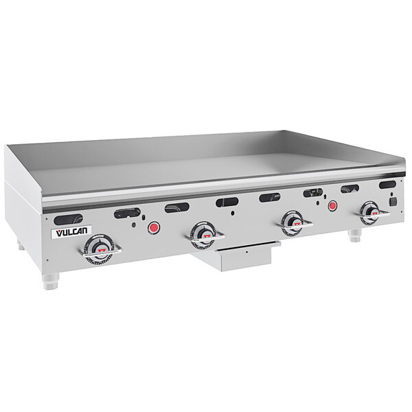 """Vulcan MSA48-24C 48"""" Liquid Propane Chrome Top Commercial Griddle / Grill with Snap-Action Thermostatic Controls - 108,000 BTU Main Image 1"""