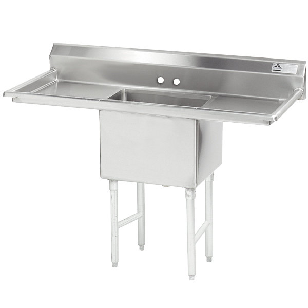 """Advance Tabco FS-1-1824-24RL Spec Line Fabricated One Compartment Pot Sink with Two Drainboards - 66"""""""