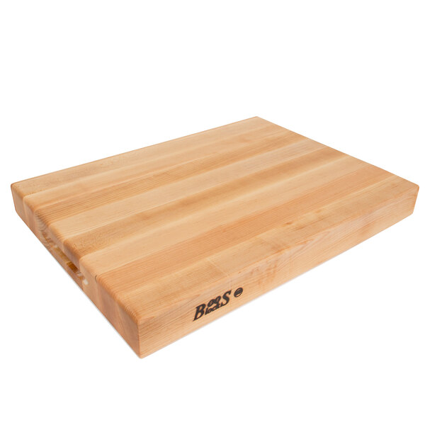 """John Boos & Co. RA02 20"""" x 15"""" x 2 1/4"""" Reversible Maple Wood Cutting Board with Hand Grips Main Image 1"""