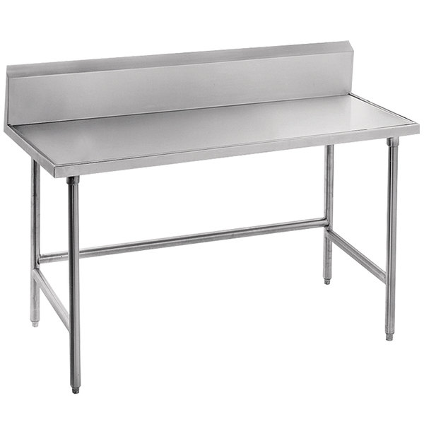 """Advance Tabco TVKG-367 36"""" x 84"""" 14 Gauge Open Base Stainless Steel Commercial Work Table with 10"""" Backsplash"""