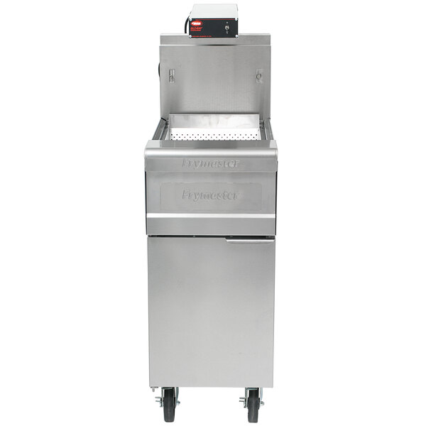 """Frymaster 15MC + FWH-1A 15 1/2"""" Stainless Steel Spreader Cabinet for D50G and SM50G Fryers with Food Warmer / Holding Station and Curved Scoop Pan - 120V Main Image 1"""
